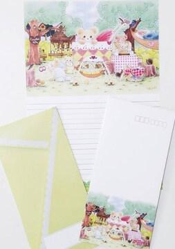 オリジナルレターセット《LE-1》★手描きイラスト便せん&封筒★A4サイズ15枚