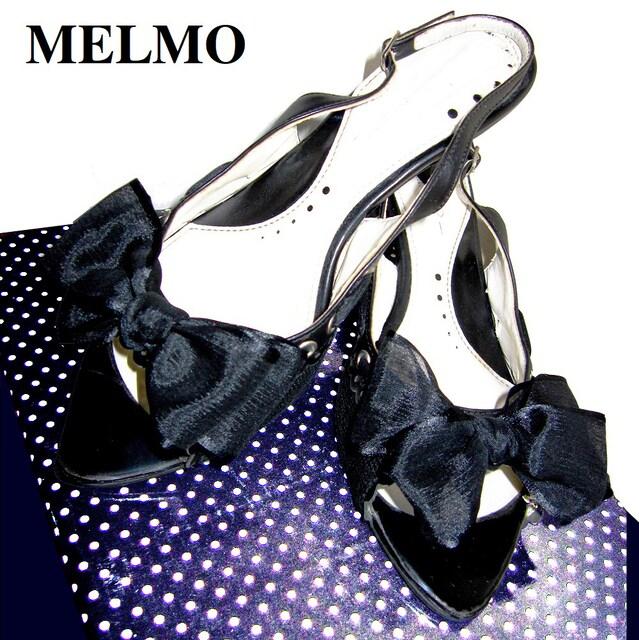 MELMO メルモ シフォン リボン サンダル ブラック 黒 22EE  < 女性ファッションの