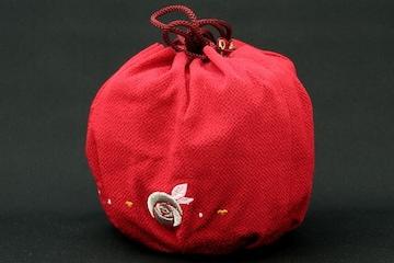 成人式卒業式振袖小紋に♪ちりめん巾着赤きんちゃく☆着物