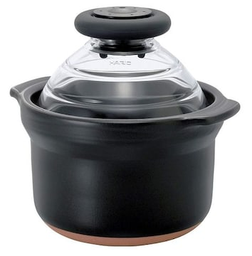 HARIO (ハリオ) フタがガラスのご飯釜 1合専用 萬古焼 炊飯 土鍋