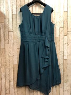 新品☆15号♪緑系シフォンパーティワンピース☆j427