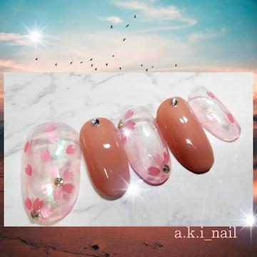 No326/ジェルネイルチップ☆付け爪〜桜×ピンク☆春ネイル