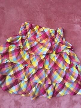 130☆美品メゾピアノ3段フリルマドラスチェック膝丈スカート