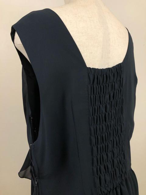 新品☆19号紺色のシフォンパーティーワンピース♪m195 < 女性ファッションの
