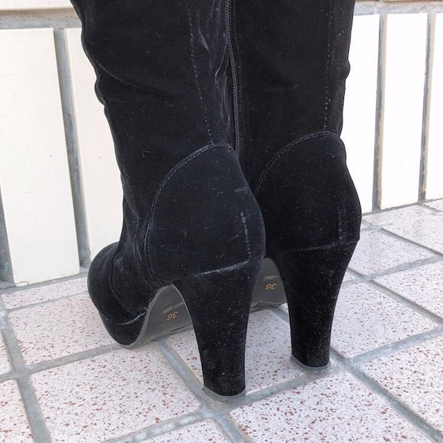 ◆ベロア生地ニーハイブーツ◆ブラック36サイズ*ロングブーツ★ギャルコーデ♪ < 女性ファッションの
