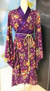着物風 ドレス パーティードレス 花柄 紫色 日本製 M