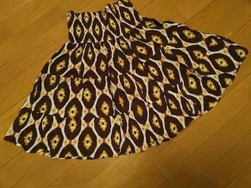 1回着用/インド製 幾何学柄 楽チンスカート/ブラウン系