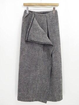 ヨウジヤマモト ウール ツイード ロング マキシ ラップ スカート