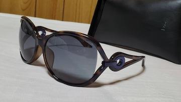 正規 ハイド着 同型 Dior オーバル装飾 フェザーテンプルサングラス 鼈甲×青黒
