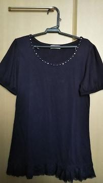 半袖デザインTシャツ◇M 紺 裾レース