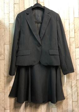 新品☆9号プチ♪黒×ストライプのフレアスカートスーツ☆s849