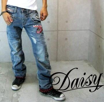 Daisy(デイジー)裏チェックダメージワッペンデニムパンツ/L