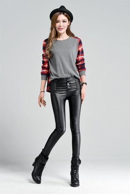 Lサイズ★伸縮性抜群★フェイクレザーパンツ < 女性ファッションの