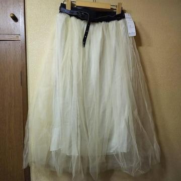 新品★二重チュールレースロングスカート/L/ミルキーホワイト