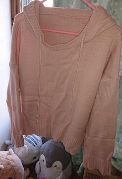 フード付き/ピンク色のセーター/3L/中古品