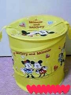 ディズニー【ミッキー&ミニー】洗濯物.ぬいぐるみ♪折り畳み収納ランドリーBOX