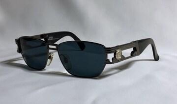 正規 VERSACEヴェルサーチ メデューサロゴ オープンメタルサングラス 黒×クローム メガネ〇