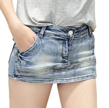 見た目はミニスカート★デニムショートパンツ(XXLサイズ)