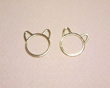 猫リング枠2個マットゴールド
