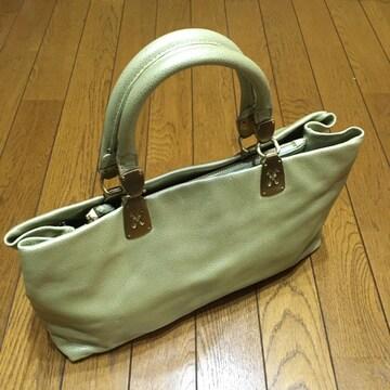 高級コールハーン レザートート ハンドバッグ 黄緑メタリック