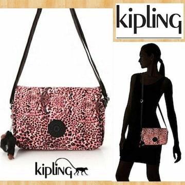 kipling キプリング 新品 ショルダーバッグ ピンク アニマル