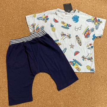 新品タグ付き130半袖Tシャツ短パンセットアップ 綿100% �@