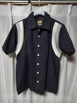 古着 MWS ボーリングシャツ ワーク 半袖シャツ Sサイズ ブラック 黒 ユーズド USA