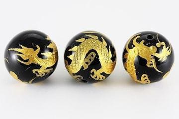オニキス金彫り☆皇帝の五爪龍18mmビーズ