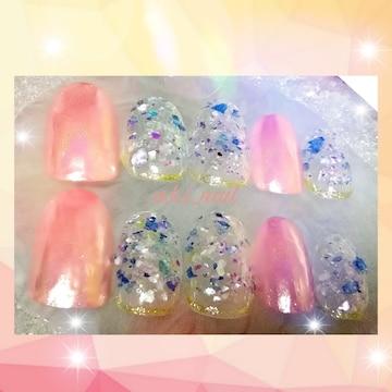 ジェルネイルチップ☆付け爪〜ピンクミラー×クラッシュシェル
