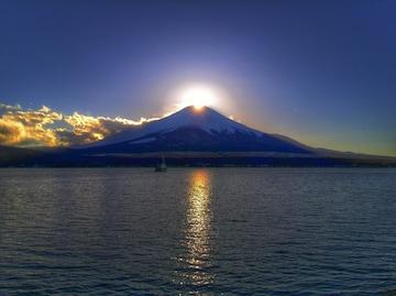 世界遺産 富士山 写真 ダイヤモンド富士 A4又は2L版 額付き