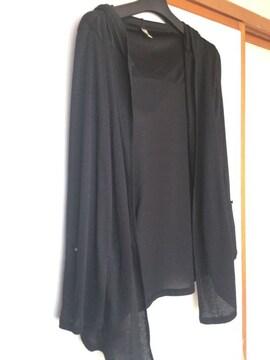 フード付き カーディガン  黒 M 羽織 N2m