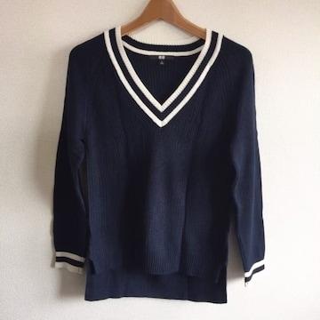 ◆UNIQLO/ユニクロ◆クリケットセーターS★チルデンニット*シンプルコーデ♪