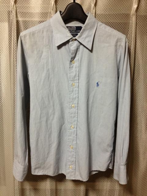 ポロラルフローレン 無地 長袖シャツ XS〜Sサイズ16 青水色 古着 ヴィンテージ  < ブランドの