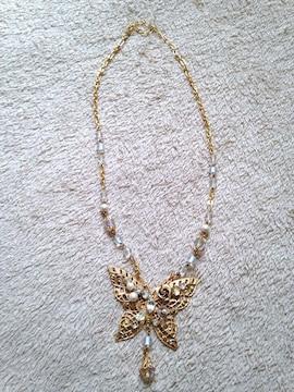 蝶々 バタフライ ゴールドカラー ラインストーン ネックレス