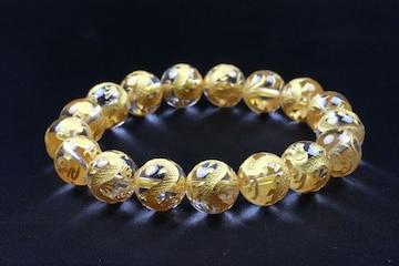 12mm/金龍水晶数珠ブレスレット即決オラオラ悪羅悪羅