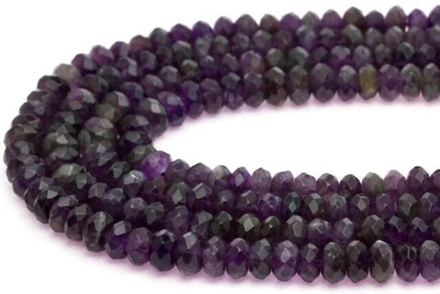 ☆天然石アメジスト(紫水晶)☆ボタンカット型4×8mmビーズ1連  < ペット/手芸/園芸の