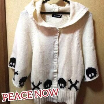 PEACE NOW★USED美品★スカル編み込みポンチョ風カーディガン