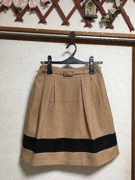 極美品groveスラブ配色ベルト付きスカートSキャメルバイカラー