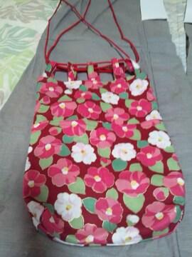 ☆新品赤×椿和柄信玄巾着袋リバーシブル