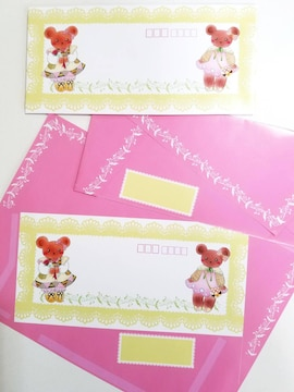 オリジナル封筒《FU-2》★手描きイラスト封筒★カントリーベア★A4サイズ5枚