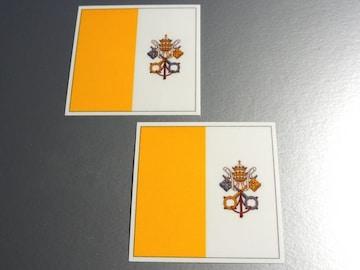 ■バチカン市国国旗ステッカー2枚セット即買■ヨーロッパ
