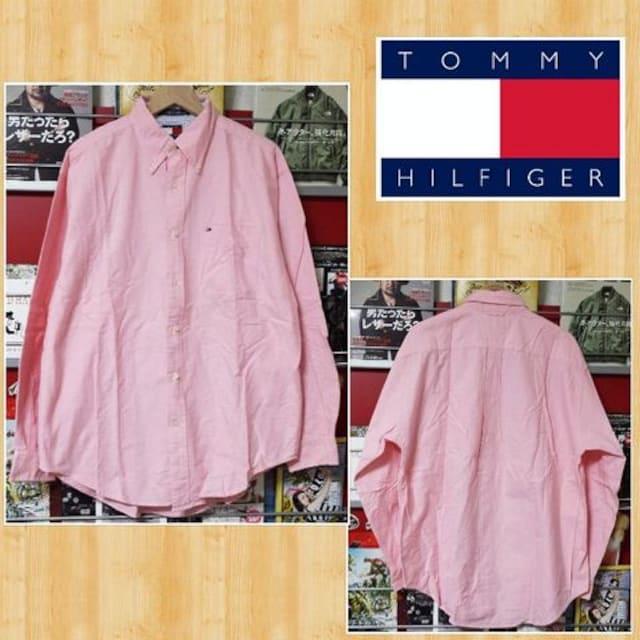 TOMMY HILFIGER トミーヒルフィガー ワークシャツ ピンク 美品 M ロゴ刺繍 長袖  < ブランドの