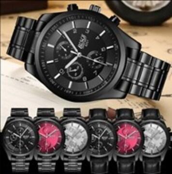 ★防水★ 腕時計 シンプル 金属ベルト 黒 他タイプ色有