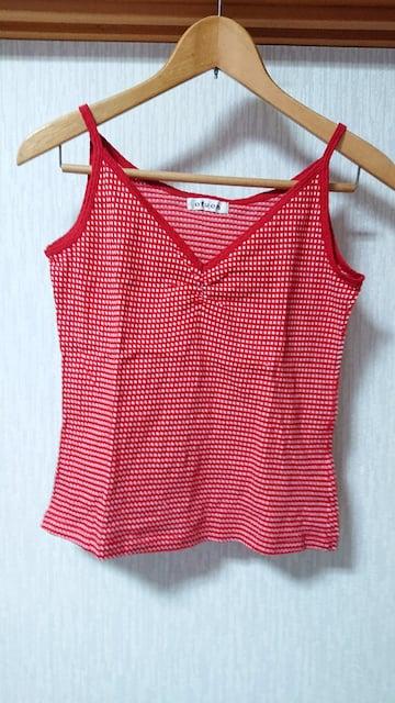 イトキン ofuon 赤 ギンガムチェック キャミソ—ル M〜L  < 女性ファッションの