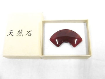 送料無料 わけあり品 天然石の帯留め 末広 9 赤褐色 新品