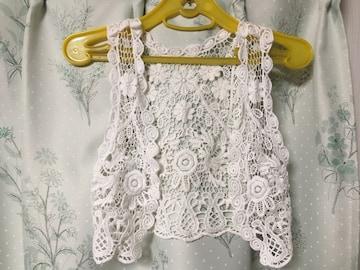 タイ購入ハンドメイド手編み花柄ベストボレロ白色ホワイト