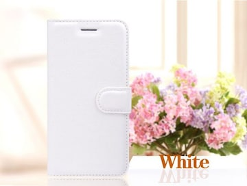 iPhone6/6sPlus 手帳型収納レザーケース+強化保護フィルム 白色
