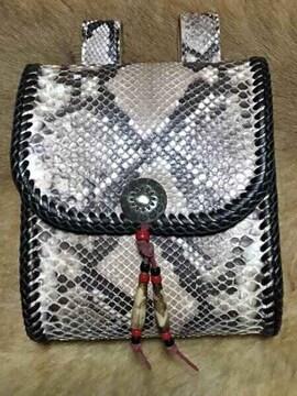ダイヤモンドパイソン 蛇 極厚サドルレザー メディスンバッグ