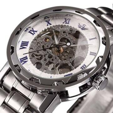 超値引★大人気のクラッシックスケルトン自動巻き腕時計 白