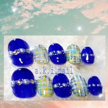 ジェルネイルチップ☆付け爪〜ブルー☆ツイード